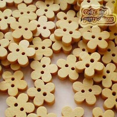 Floral 11mm Wood Buttons Sewing Scrapbooking Craft NCB015