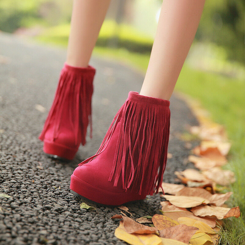 Sexy Ladies BOHO Style Side Zip Super High Wedge Heel Mid Calf Boots Party shoes