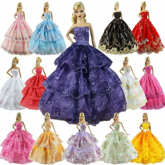 LOT of 6 Genuine Mattel Barbie Doll Dolls Fashion Clothing Clothes Dress Dresses
