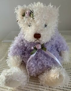Old-Street-Trading-Curly-Plush-Teddy-Bear-White-23cm-Tall-New-With-Tags