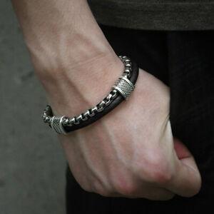 Sport-8-26inch-Black-Genuine-Leather-Bracelet-Men-Stainless-Steel-Box-Chain