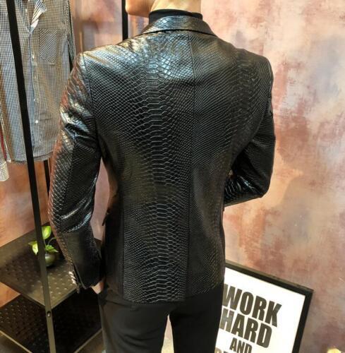 Giacca in Pelle da Uomo Formale BLAZER CASUAL COAT Modelli Slim Fit Outwear 3XL U965  ohhhW
