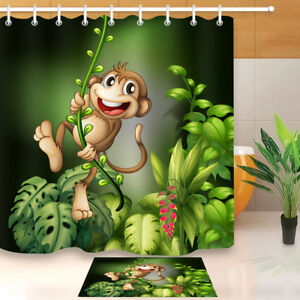 Details About Monkey Tropical Fabric Shower Curtain Set Bathroom Accessories Waterproof 71x71