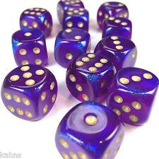 Chessex Dice Block d6 12 pcs 16mm - Borealis Royal Purple w/Gold - 27667 - BAG