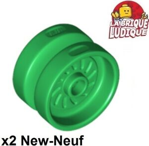 Lego-2x-roue-jante-wheel-18mm-D-x-12mm-Axe-Axle-Hole-vert-green-18976-NEUF