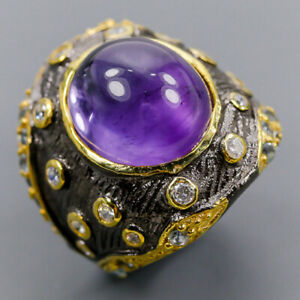 Amethyst Ring Silver 925 Sterling Handmade Jewelry Size 7 /R147441