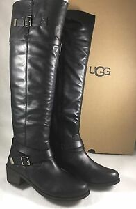 ea24f6e43a2 Details about UGG Australia BESS Tall BLACK LEATHER SHEEPSKIN BUCKLE  Equestrian BOOT 1013706