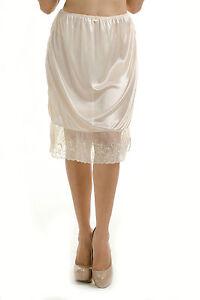 "23"" Length Women Lace Half Slip Side Slits White Beige Black S M L XL 2XL 997"