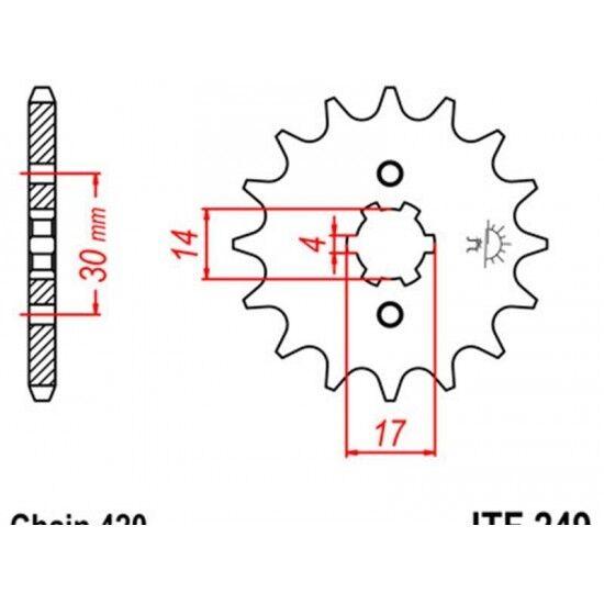 Pignon acier 14 dents jt chaîne 420 kawasaki klx110 Jt sprockets JTF249.14