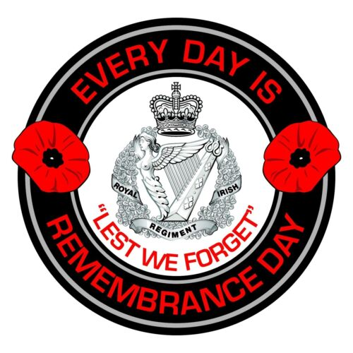 Royal Irish Regiment Remembrance Day Inside Car Window Clear Cling Sticker