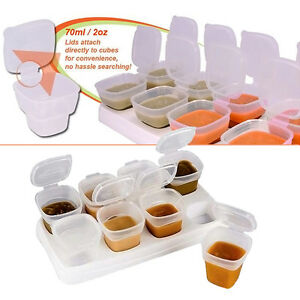 8pcs Baby Kids Weaning Food Freezing Cubes Tray Pots