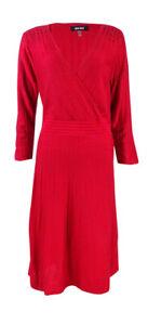 Nine-West-Women-039-s-Embellished-Shoulder-Sweater-Dress-M-Fire-Red