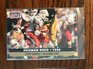 1991 NFL Pro Set #39 Barry Sanders Football Card Heisman Hero OSU Detroit Lions