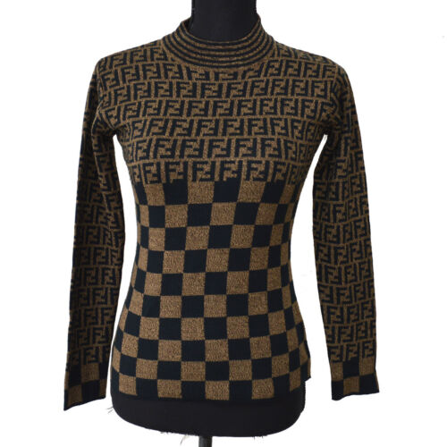 FENDI Vintage Zucca Pattern Long Sleeve Sweater Br
