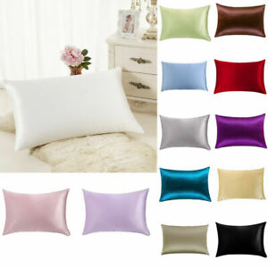 100-Silk-Satin-Queen-Pillow-Case-Cushion-Cover-Pillowcase-Home-Bed-Decor-New