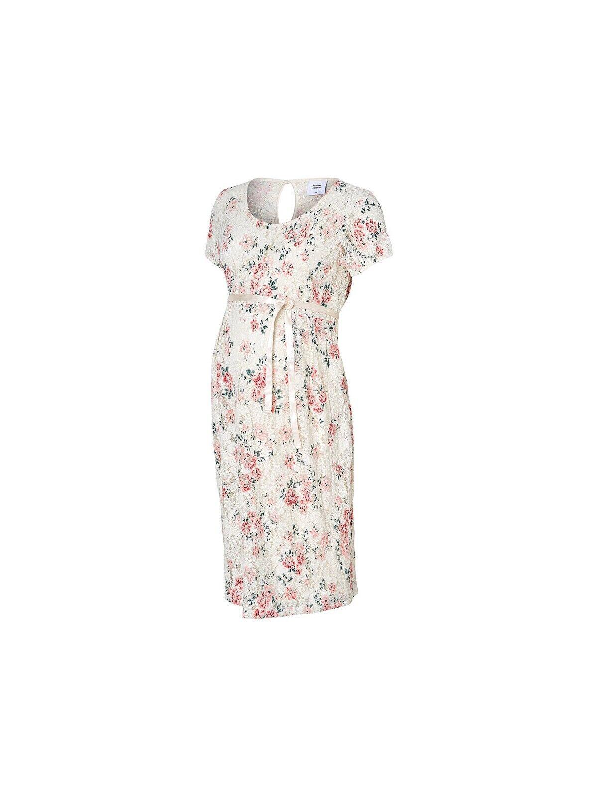 Mamalicious Adalina Short Sleeve Lace Maternity Dress Floral LARGE