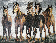 Five Beautiful Running Fast Horses Wild Animals Marble Mosaic AN516