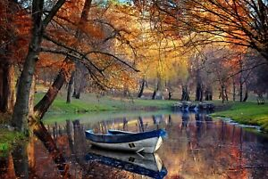 A1-Autumn-Lake-Poster-Art-Print-60-x-90cm-180gsm-Boat-Forest-Trees-Gift-8978