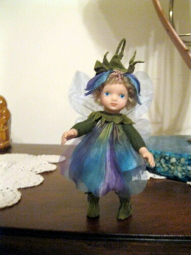 "6"" Thai Blue w Wings Fairy Doll or Ornament Porcelain Head Hands Feet New"