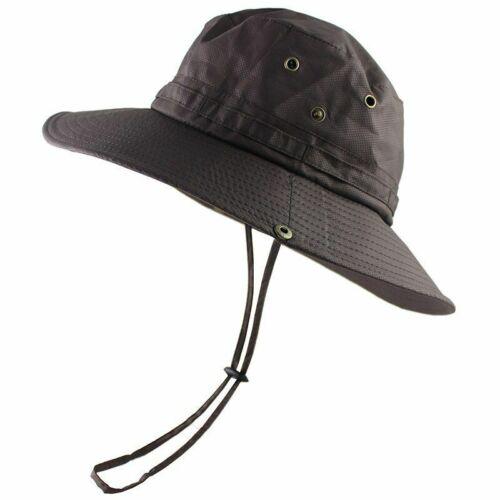 Mens Waterproof Sun Hat Outdoor Sun Protection Bucket Safari Wide Cap UPF 50+