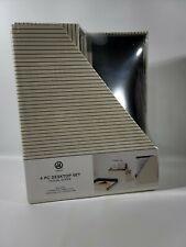 Desk Organizer 4 Pc Kit Paper Tray Pencil Cup Magazine File Storage Bin
