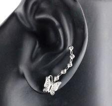 Womens 925 Sterling Silver Clear CZ Micro Pave Butterfly Hook Earrings 27mm