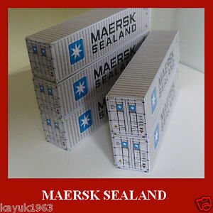 Maersk-Sealand-Shipping-Container-Card-Kits-40ft-Buy-Now-amp-FREE-20ft-x-6-N-Gauge