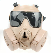 TACTICAL AIRSOFT PAINTBALL FULL FACE SKULL GAS DUAL FAN GAS MASK M50 Mud