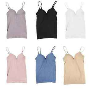 6738a743b0219f Women s Camisole with Built in Bra V-neck Padded Slim Tank Top ...