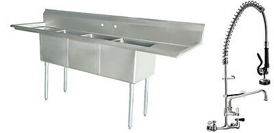 Stainless Steel (3) Three Compartment Sink 90 x 24 with Pre-Rinse Faucet