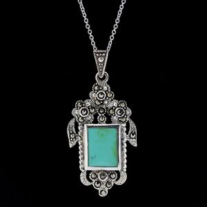 Sterling Silver 925 Marcasite & Sim Turquoise Vintage Inspired Necklace RRP $120