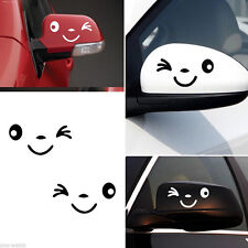 1Pair Cute Smile Face Decoration Decal Sticker For Car Side Mirror Rearview L+R