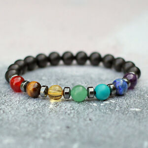 Image Is Loading Frosted Black Onyx 7 Chakra Bracelet Healing Gemstones
