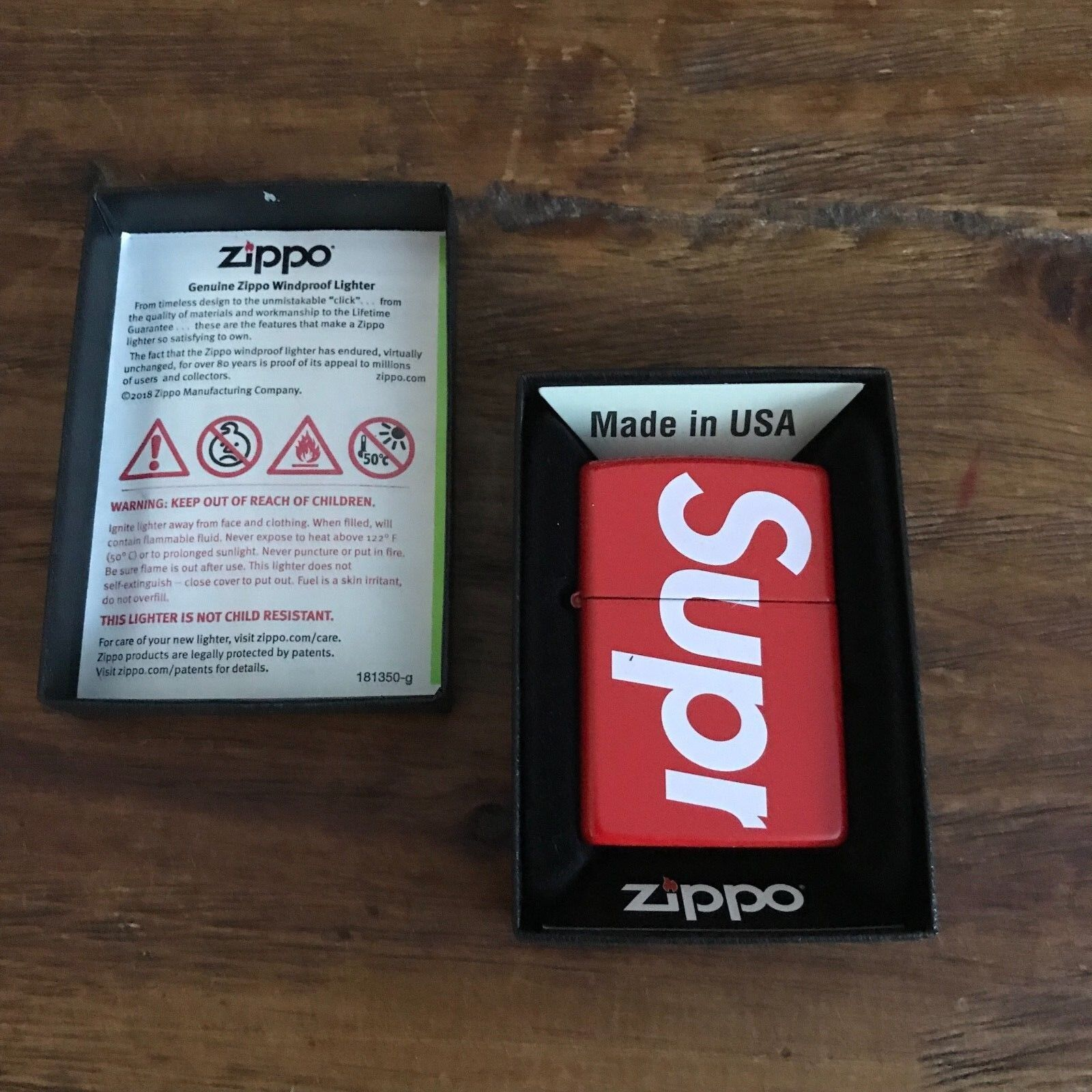 SUPREME RED Zippo Lighter New BOX LOGO Mark Gonzales Jason Dill Larry Clark NAS
