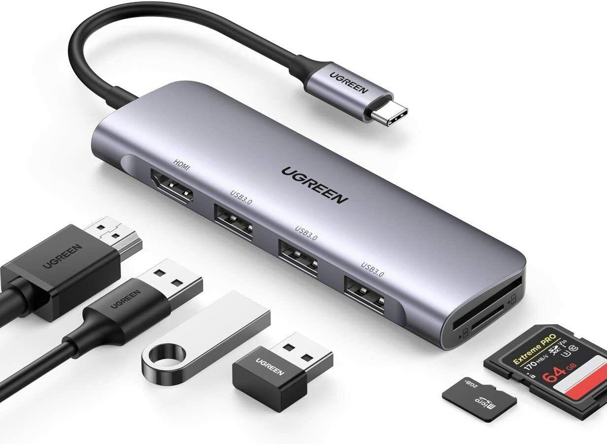 UGREEN USB C Hub HDMI Adapter 6-IN-1 Type C Hub with 4K HDMI USB 3.0 Data Transf