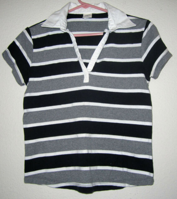 1bcf9dddb4 OLD NAVY Stripe STRETCH Fitted Fit Knit Polo T Tee Crop Sport Top Shirt Jr M