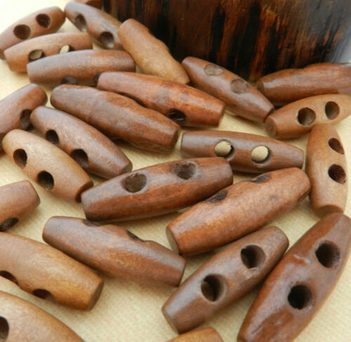 Dark wooden toggle buttons 3 sizes 25mm 35mm sold per 5 buttons 30mm
