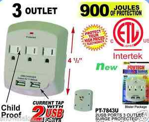 3 Outlet Power Surge Protector Wall Tap w/ 2 USB Ports - 900 Joules