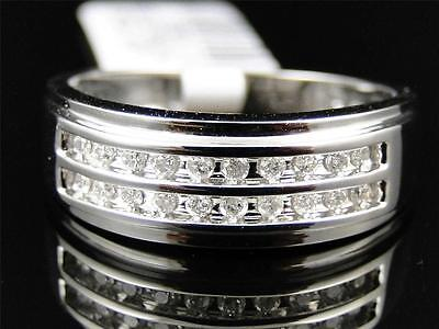 Mens 10K White Gold Round Cut White Diamond 2 Row Engagement Wedding Band Ring