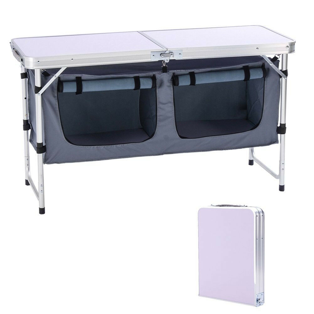 Outdoor Folding Table Aluminum Lightweight  Height Adjustable with Storage Organi  presenting all the latest high street fashion