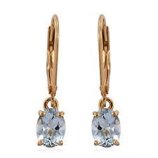 Espirito Santo Aquamarine Lever Back Earrings 14K Gold Overlay Sterling 1.50cts