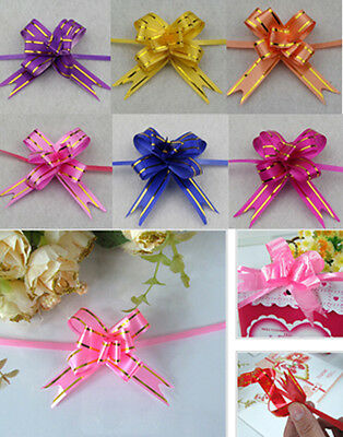 100pcs Pull Flower Ribbon Bow Gift Wrap candy box accessories DIY wedding supply