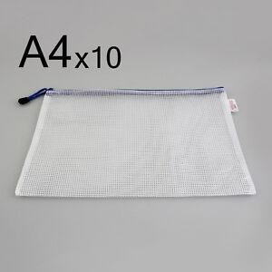 Portable-A4-5-10-pcs-Pack-Pen-File-Clear-Grid-Lines-Folder-Waterproof-Zip-Bag-GT
