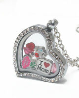 Origami-style Mom I Love Mom Floating Charm Heart Locket 23  Necklace
