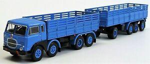 BREKINA-58403-Fiat-690-Millepiedi-autocarro-con-rimorchio-azzurro-HO-1-87