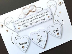 Hand made personalised wedding anniversary hearts card request