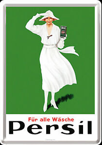 Nostalgic-Type-Metal-Postcard-for-All-Laundry-Persil-Lady-IN-White-Detergent
