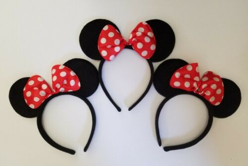 24 PC MICKEY MINNIE MOUSE EARS HEADBANDS BLACK RED//PINK BOW PARTY FAVORS COSTUME