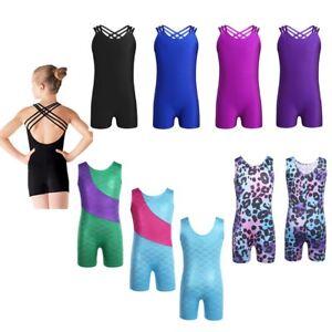 Kids-Girls-One-Piece-Gymnastic-Leotard-Unitard-Glittery-Ballet-Dance-Jumpsuit