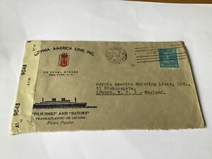 America-Line-Gdynia-1944-to-London-illustrated-Censor-stamp-cover-Ref-R28590